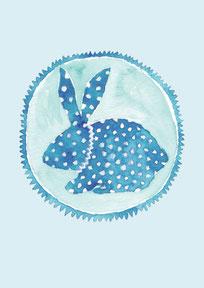 Grußkarte Hase blau Ostern
