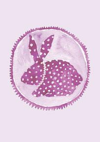 Grußkarte Hase lila Ostern