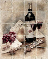 A mural depicting wine bottles, wine glasses, grapes, pears, and figs printed on tumbled travertine stone tiles
