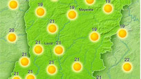 Grand beau temps sur la Mayenne : carte avec pictogrammes de soleil