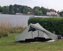 mein Tarp-Tent beim ersten Außeneinsatz