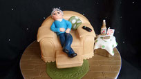 Mans Arm Chair birthday cake