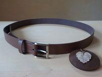 ceinture cuir marron de 80 cm à 120 cm