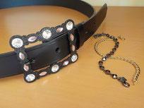 ceinture cuir noir femme boucle strass