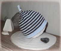 Bonnet pure laine gris et bleu ciel