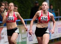 Franka Hassel und Lea Lemke, hier gegeneinander beim Sportfest in Herdorf