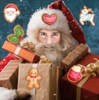 Weihnachtsmann mit Geschenken und Gebäck, Jesus Lopez