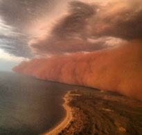 Dust Storm over coast of WA.