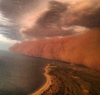 Dust Storm over coast of WA.