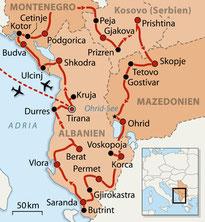 Karte Route Nord Albanien