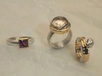 Ring, Rhodolith, Brillant, Rutilquarz, Gold, Silber, Platin