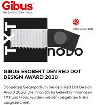Gibus the sun factory erobert den Red Dot Design Award 2020 für TXT und Nodo