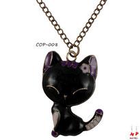 Collier à pendentif chat noir et fleur rose