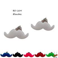 Boucles d'oreilles moustaches 6 couleurs