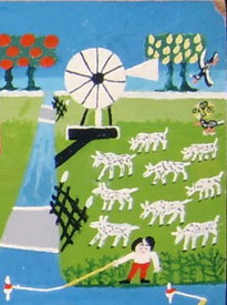 Detail van'De melkvaarder' van RuurdWiersmamet hierop misschien 'onze' Amerikaansewindmotor.
