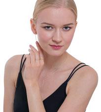 Miriam Alsina, argent sterling 925, collection trapeze,  bague, boucles d'oreilles, pendentif