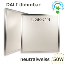 LED Panel 50W, 60x60cm, diffuse UGR<19, DALI dimmbar neutralweiss, 4137lm  Gehäuse silber,