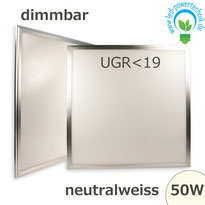 LED Panel 50W, 60x60cm, diffuse UGR<19, dimmbar neutralweiss, 4137lm, Gehäuse silber,