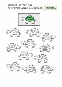 Selecciona las tortugas que van hacia la izquierda