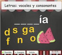 Letras: vocales y consonantes