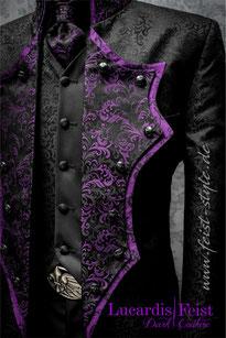 extravagante hochzeitsanzüge, extravagante herrenmode, gay hochzeit, besondere hochzeitsmode, schwarzer gehrock, anders heiraten, rockabilly hochzeit, biker hochzeit, gothic hochzeit, steampunk brautkleid, coole brautmode, spezielle brautmode