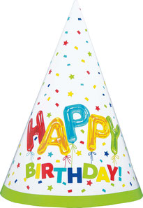 Feesthoedjes Happy Balloon Birthday 8 stuks € 2,95
