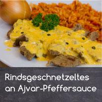 Rindsgeschnetzeltes an Ajvar-Pfeffersauce Rezept