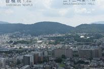 中央右あたりのビルの向こう側は三十三間堂です。