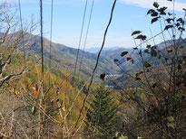 峠の中腹から望む奈良井の宿