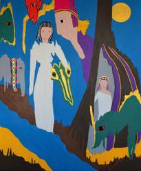 La guerrière et le dragon , acrylique sur bois . D.Petit