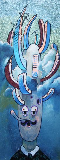 Gedankenauswüchse, 2013, Acryl und Mixed Media, 0,75 x 0,3m