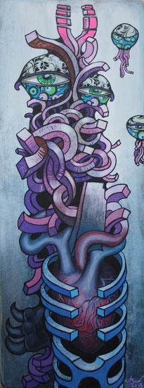 Anthropomorphes Wesen, 2013, Acryl und Mixed Media, 0,75 x 0,3m