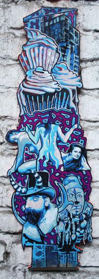 Babelcake, 2013, Acryl und Mixed Media, 0,75 x 0,3m