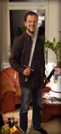 christlicher Mann und Schwert