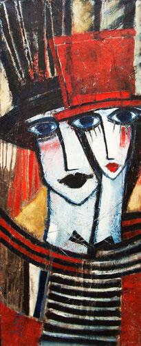 "Tarasenko Anna, ""Roter Hut"", Öl auf Leinwand,  100  x 40 cm, 2011, gerahmt, 1.500 €"
