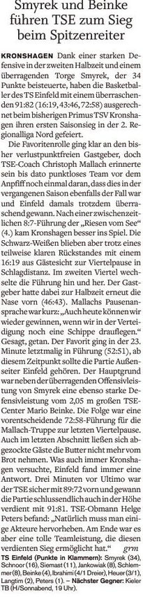 3. Spieltag 2016/2017 - Holsteinischer Courier