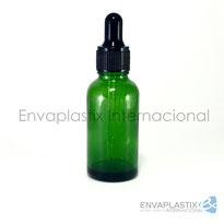 frasco gotero de vidrio verde, envase de vidrio
