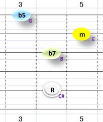 Ⅶ:C#m7b5 ①②③⑤弦