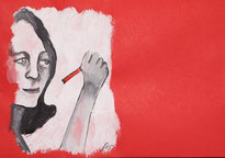 Frauengesicht mit Stift in der Hand
