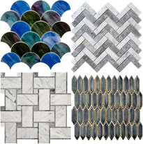 Four separate one-square foot sheets of tile mosaics: a blue, purple, and green stained glass-looking fish scale mosaic, a white and gray marble herringbone mosaic, a white and grey marble basketweave mosaic, and a glazed blue ceramic mosaic