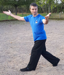 Stuart Ford, demonstrating a Bagua circle walking (Eight Mother Palms) posture called Double Carry