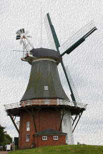 3 Windmühle in Ölfarbe/Windmill in oil paint
