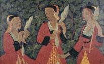 Paul Sérusier, Les trois fileuses, 1918, huile sur toile, dépôt du Musée d'Orsay au musée des beaux-arts de Brest métropole.