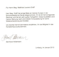 Empfehlungsschreiben von akademischer Maler Prof. Mag. art. Bernhard Hollemann, 2013