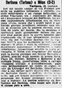 1922-23 DERTHONA - MILAN 0-0