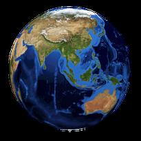 Weltkugel mit Blick auf Asien, Indien und Australien