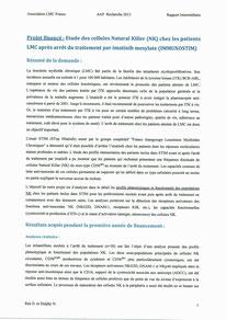LMC France Résultats intermédiaire Immunostim Nicolas Dulphy Delphine Réa Etude cellules Natural Killer arrêt traitement imatinib mesylate