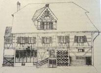 das ehemalige Wohnhaus der Familie Haffter, ein Krämerladen. 1836 abgebrannt.
