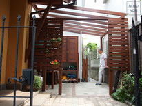 ポリカーボネート、木製物置、収納庫、オーダーメイド、イタウバ、施工例