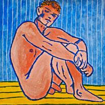 Mann, Akt, Kunst kaufen, Gemälde kaufen, Acrylfarbe, Canvas, Divo Santino, blonder Jüngling, sportlicher Akt, Blue Boy, Andernach